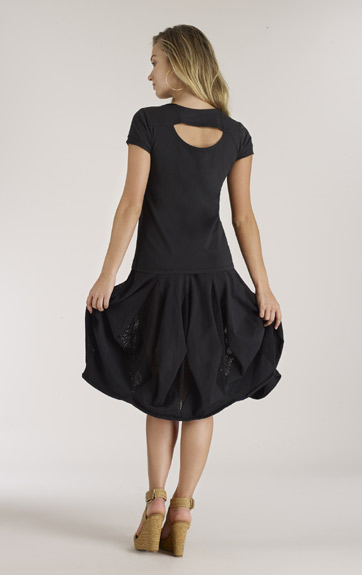 Luna Luz Garment Dyed Open Top and Skirt with Mesh Inserts