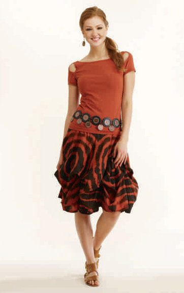 Luna Luz Shiborie Tie Dyed Skirt with Interior Ties