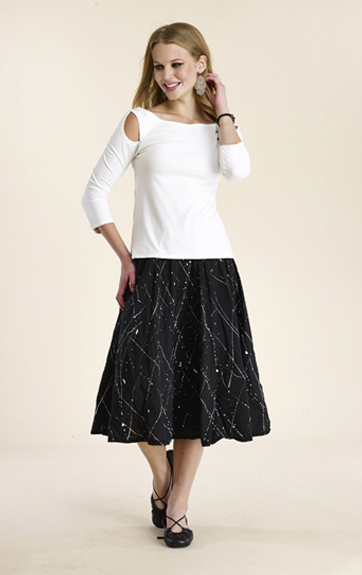 Luna Luz Garment Dyed Open Shoulder Top and Jackson Pollock Skirt