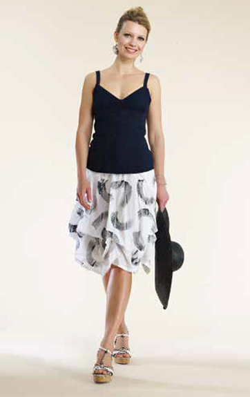 Luna Luz Garment Dyed Cami and Brush Stroke Skirt with Interior Ties