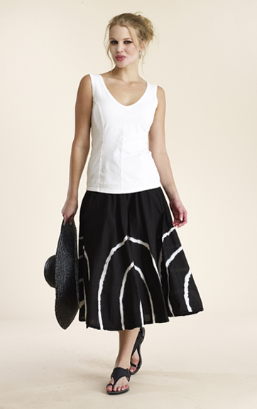 Luna Luz Garment Dyed Vee Neck Top and Half Circle Skirt
