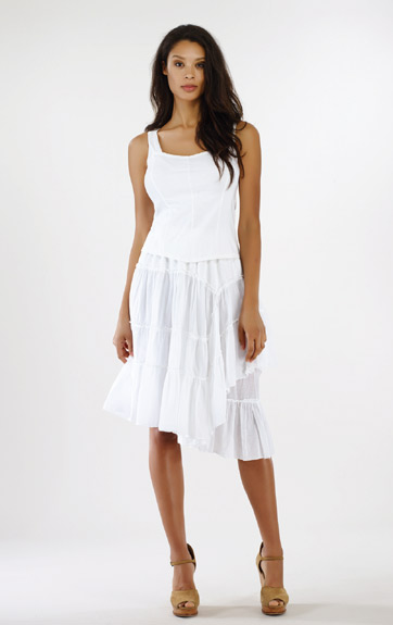 Luna Luz Garment Dyed Positano Tiered Ruffled Skirt