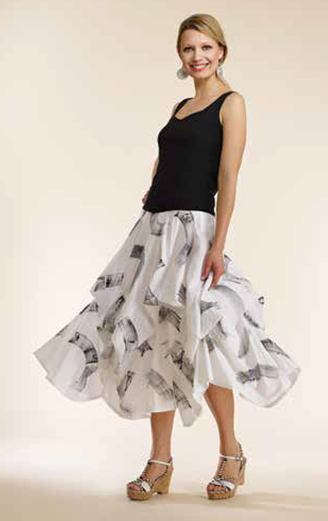 Luna Luz Garment Dyed Princess Sleeveless Top and Brush Stroke Skirt with Interior Ties