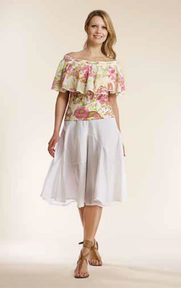 Luna Luz Overdye Print Ruffled Top and Garment Dyed Skirt with Waterfall Seaming