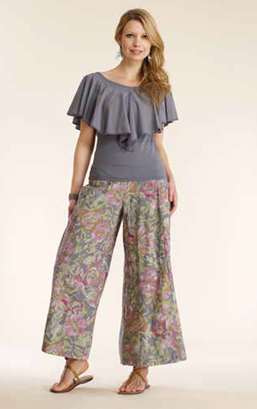 Luna Luz Garment Dyed Ruffled Top and Overdye Print Wide Leg Pant