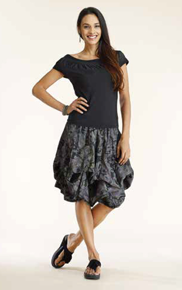 Luna Luz Garment Dyed Ruffle Inset Top and Overdye Print Skirt with Interior Ties