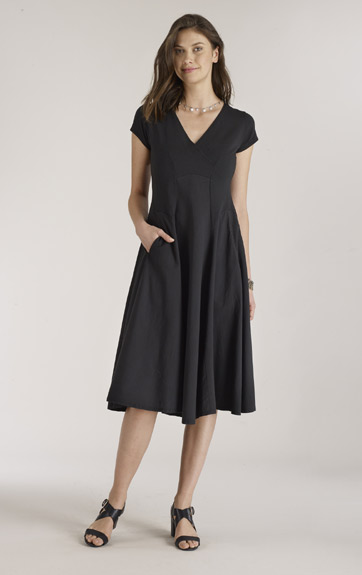 Luna Luz Garment Dyed Cap Sleeve V Neck Dress