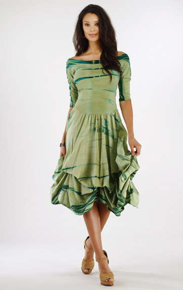 Luna Luz Rain Forest Off Shoulder Dress with Interior Ties