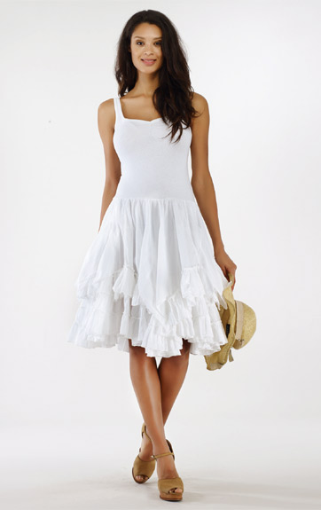 Luna Luz Garment Dyed Positano Tank Dress with Ruffled Skirt