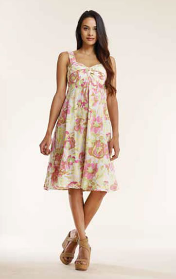 Luna Luz Overdye Print Twist Bodice Dress