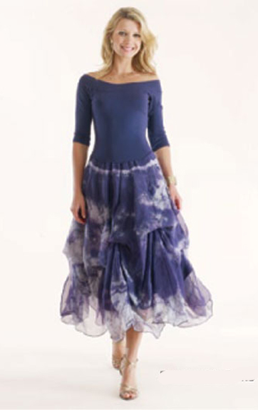 Luna Luz Tie Dye Silk Organza Off Shoulder Dress with Interior Ties