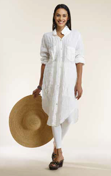 Luna Luz Garment Dyed Linen Gauze Dress