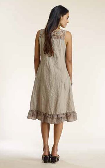 Luna Luz Garemnt Dyed Linen A Line Dress