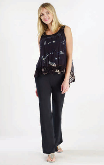 Luna Luz Tied Dyed Silk Tank Top with Lace Trim and Pant