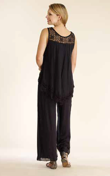 Luna Luz Silk Tank with Lace Trim and Pant