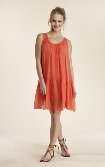 Luna Luz Silk Dress with Ruffle