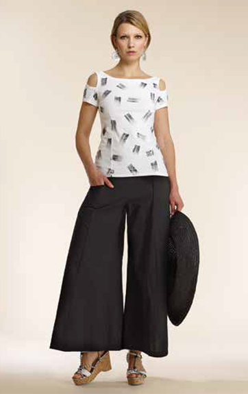 Luna Luz Brush Stroke Open Shoulder Top and Garment Dyed Wide Leg Pant