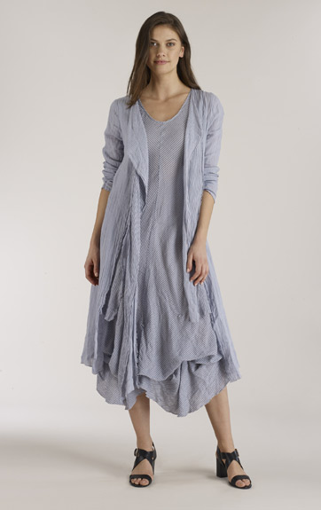 Luna Luz Garment Dyed Off Shoulder Dress with 3/4 Sleeves