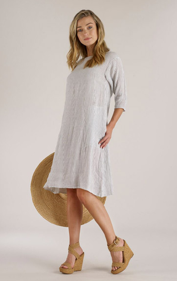 Luna Luz Screen Printed Linen Gauze Short Dress with 3/4 Sleeves