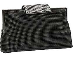 Whiting and Davis Dimple Meshh Clutch with Crystal Clasp