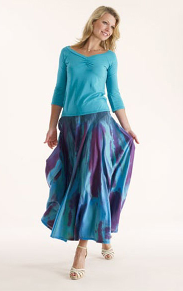 Luna Luz Garment Dyed Center Ruched Top and Feather Dyed Skirt with Interior Ties