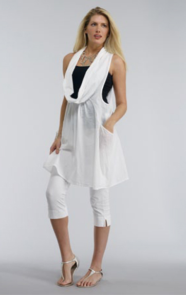 Luna Luz Garment Dyed Woven Cowl Neck Tunic and Capri