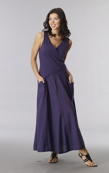 Luna Luz Garment Dyed Long Cross over Bodice Dress