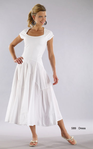 Luna Luz Garment Dyed Cap Sleeve Dress with Waterfall Skirt