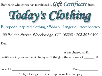 Today's Clothing Gift Certificate